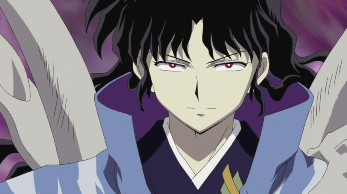 Naraku glowering with his bright red eyes and jet black hair.