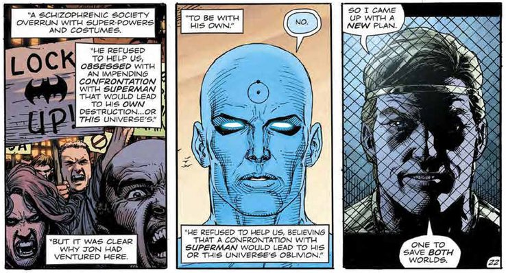 Doomsday Clock #11: Page #22, Ozymandias narrates his plan.