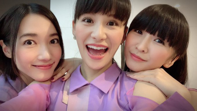 The three members of Perfume, from left to right: Nocchi, A-Chan, and Kashiyuka.