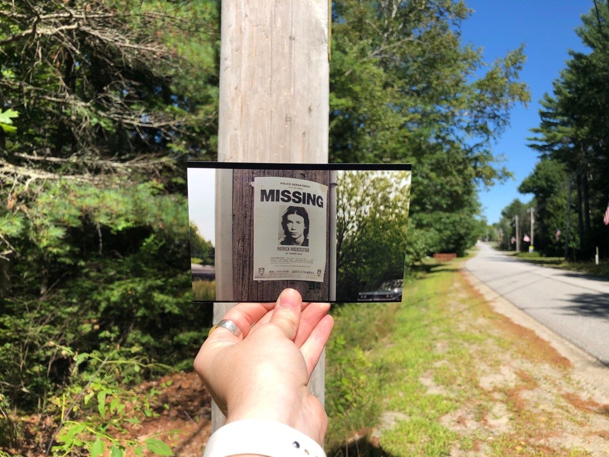 A photo taken from IT Chapter 1 of a missing persons flyer put in the actual location that inspired the image.