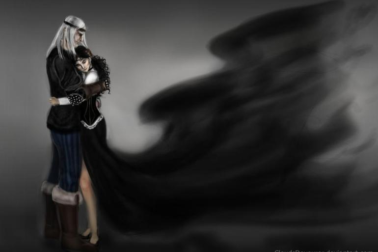 Geralt and Yennefer embrace