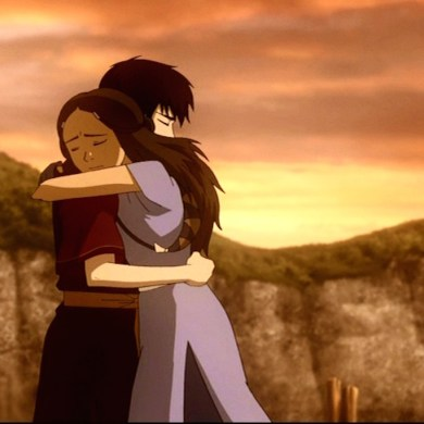 Zuko and Katara (Zutara) share a hug as Katara's feelings towards Zuko begin to change.