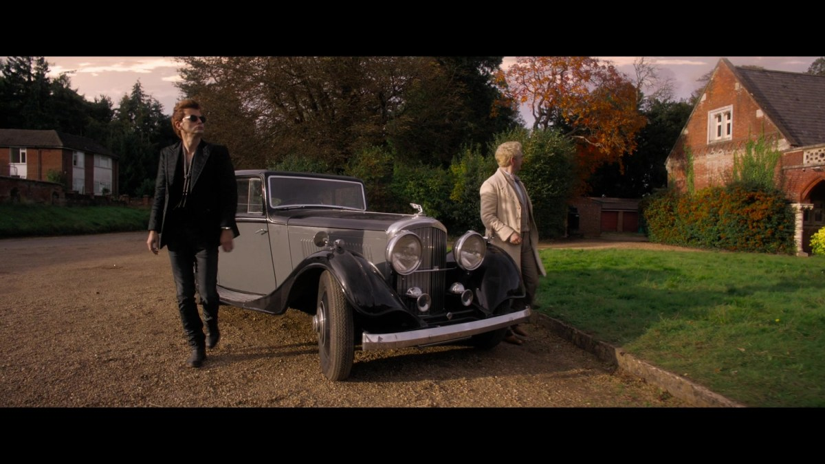 Crowley and his Bentley in Good Omens