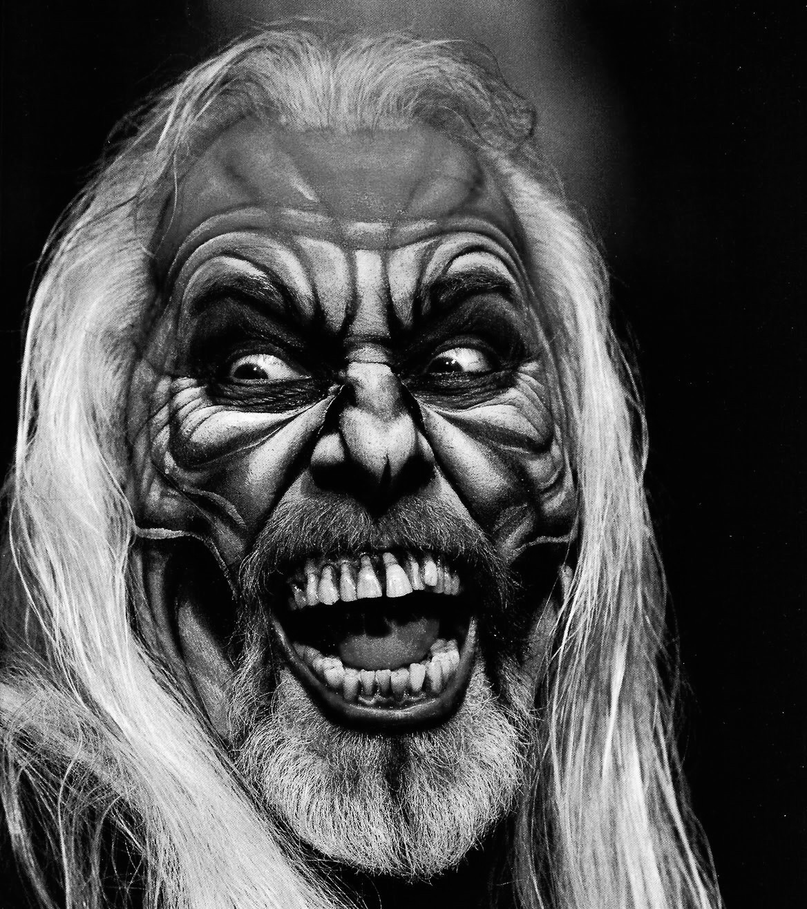 Rick Baker in horror makeup that he painted on himself.