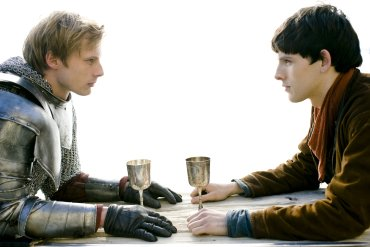 merlin and arthur pendragon argue over who will drink poison in BBC's merlin; merthur