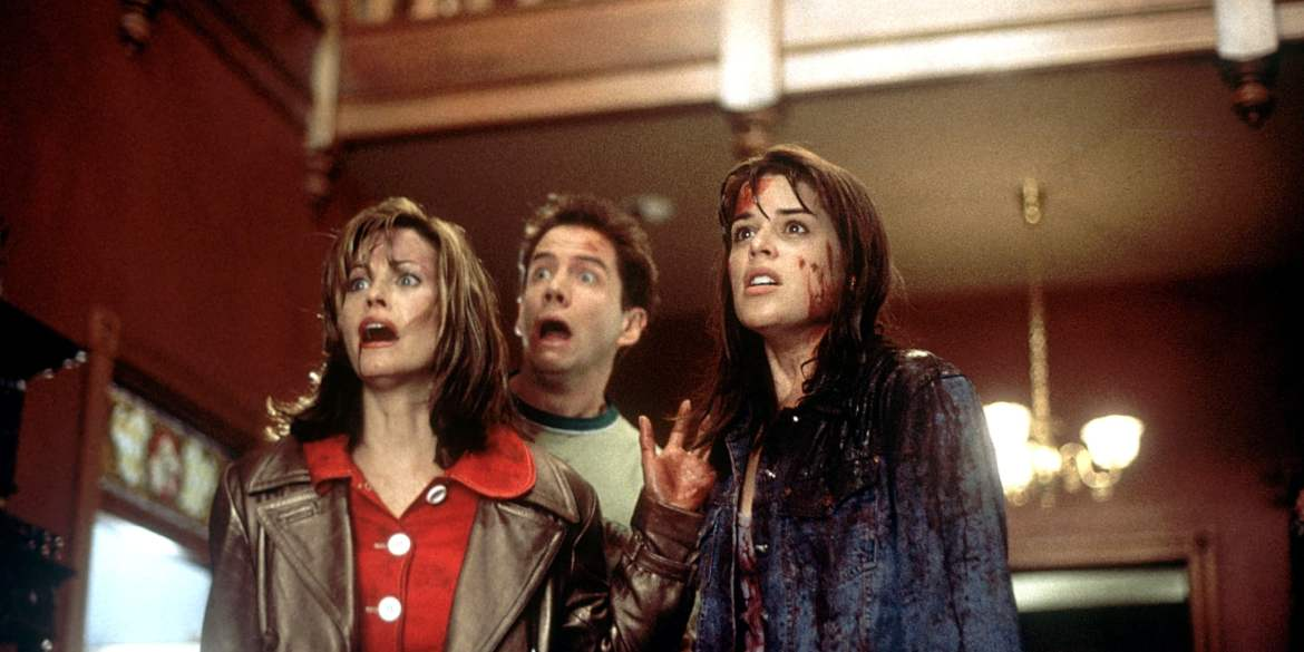 The first SCREAM film (1996) starring Neve Campbell, Courteney Cox, and Jamie Kennedy // Woods Entertainment.
