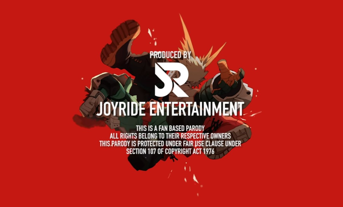Abridged: Deku and Bakugo are posed midair against a red background. Joyride's logo and copyright information is placed on top of them.