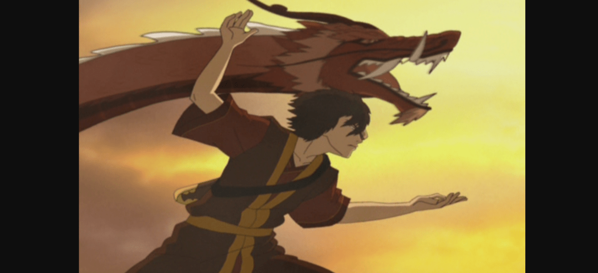 Zuko performing The Dancing Dragon along side a red dragon.