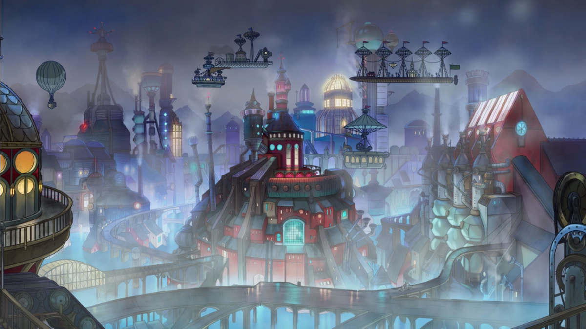 A view of Steamland, complete with fog and steampunk technology.