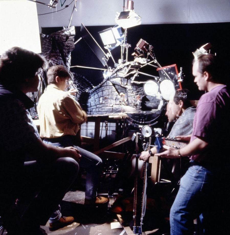 On the left, Tim Burton and on the right, Henry Seilck, on the set of The Nightmare Before Christmas.
