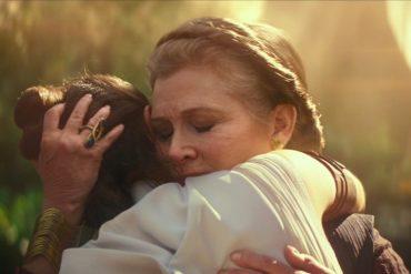 Princess Leia hugging Rey.