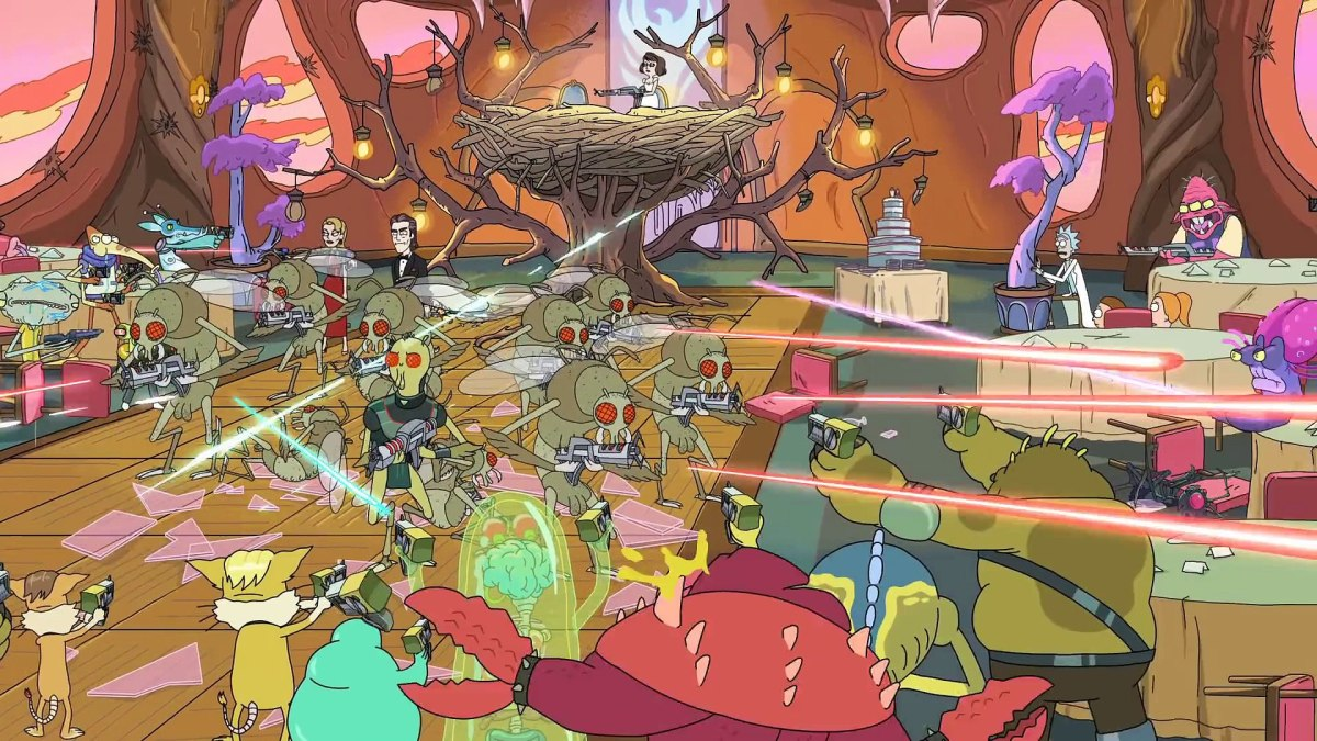 A firefight between the galactic federation and the galaxy's most wanted at Birdperson's wedding.