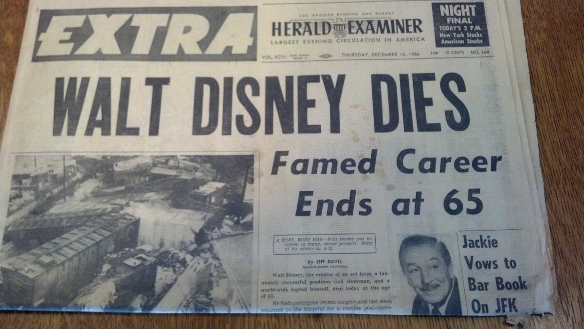 Newspaper announcing Walt Disney's death at 65 years old.