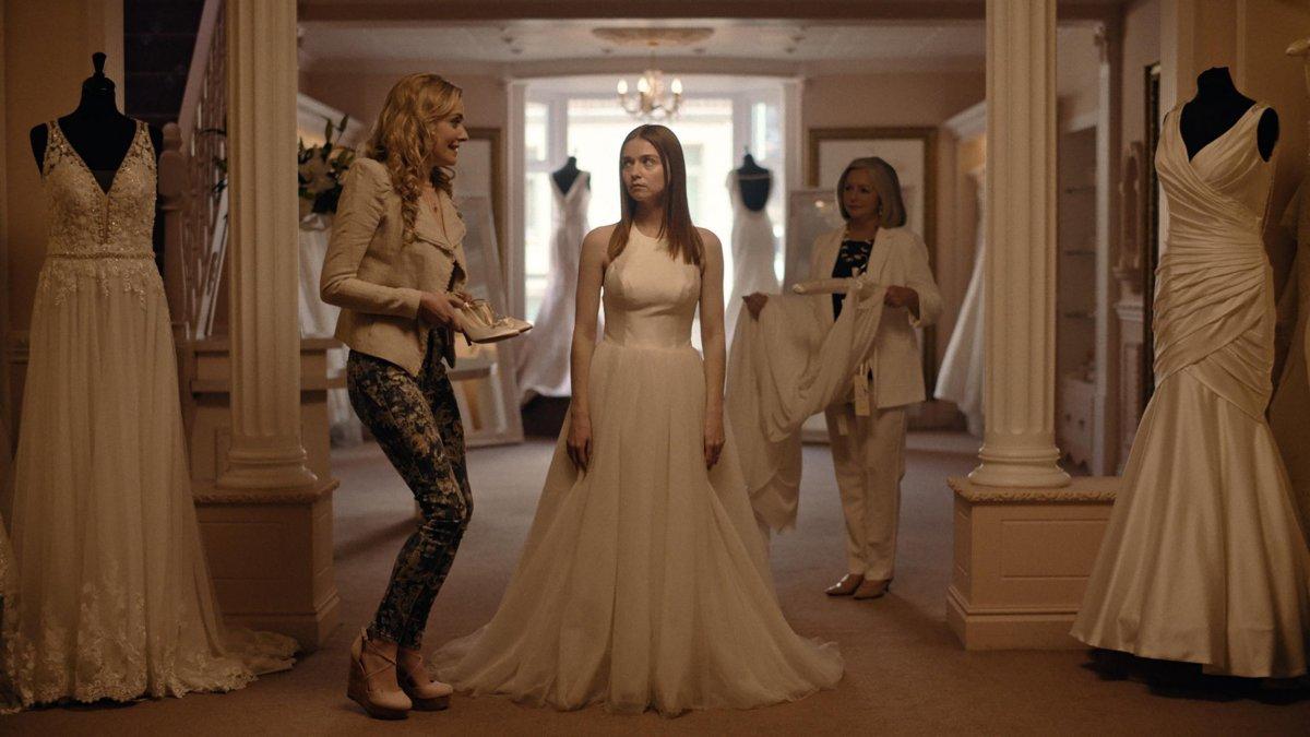 Jessica Barden as Alyssa in her wedding dress.