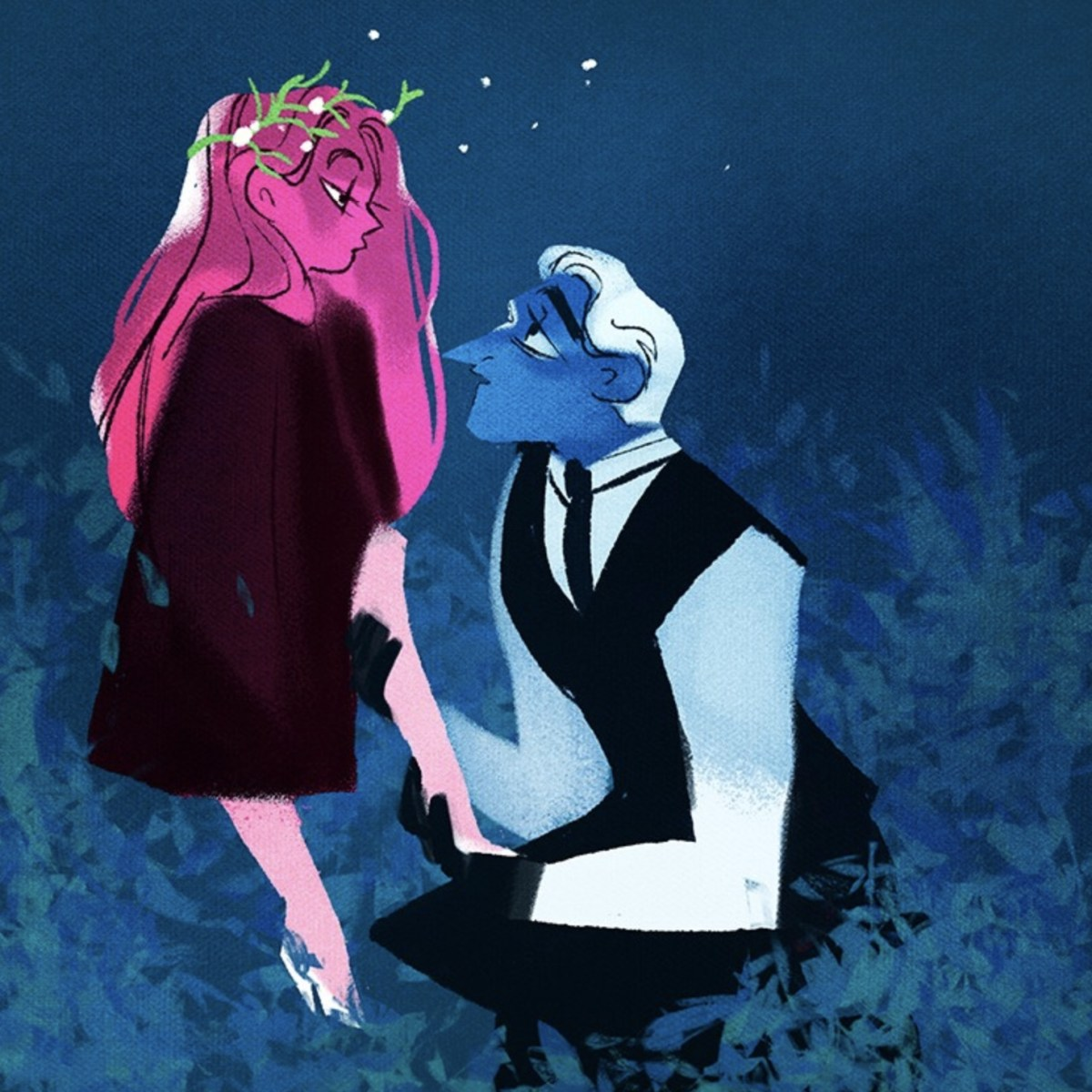 From web comic Lore Olympus, Hades helps Persephone with her shoe.