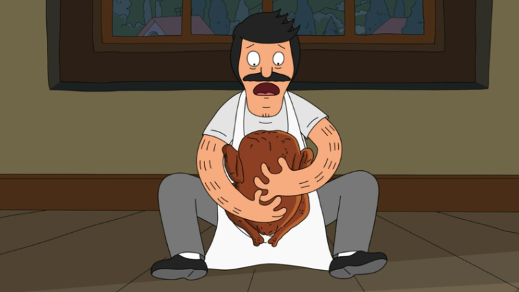 "In ""Bob's Burgers'"" first Thanksgiving special, Bob mourns Lance the Turkey, who has just been shot by Shelby."