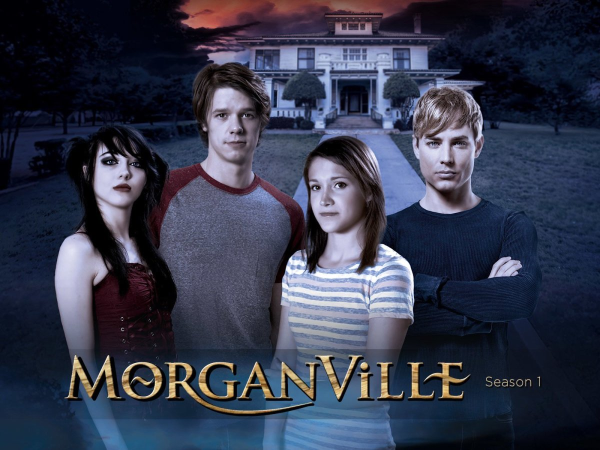 Morganville the series poster with (right to left) Eve, Shane, Claire, and Michael.