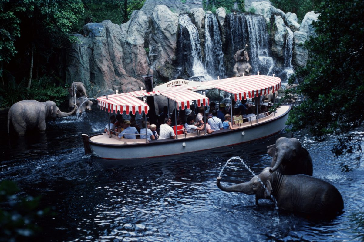 One of the park's original attractions, the Jungle Cruise, takes guests on a boat ride through the jungle filled with wildlife.