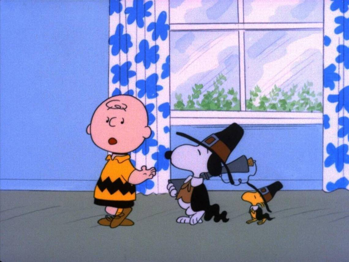 """A CHARLIE BROWN THANKSGIVING - The ABC Television Network will celebrate the start of the holiday season with the classic special, """"A Charlie Brown Thanksgiving,"""" MONDAY, NOVEMBER 21 and TUESDAY, NOVEMBER 22 (8:00-9:00 p.m., ET), on the ABC Television Network. In the 1973 special """"A Charlie Brown Thanksgiving,"""" Charlie Brown wants to do something special for the gang. However the dinner he arranges is a disaster when caterers Snoopy and Woodstock prepare toast and popcorn as the main dish. Humiliated, it will take all of Marcie's persuasive powers to salvage the holiday for Charlie Brown. (©1973 United Feature Syndicate Inc.)"""