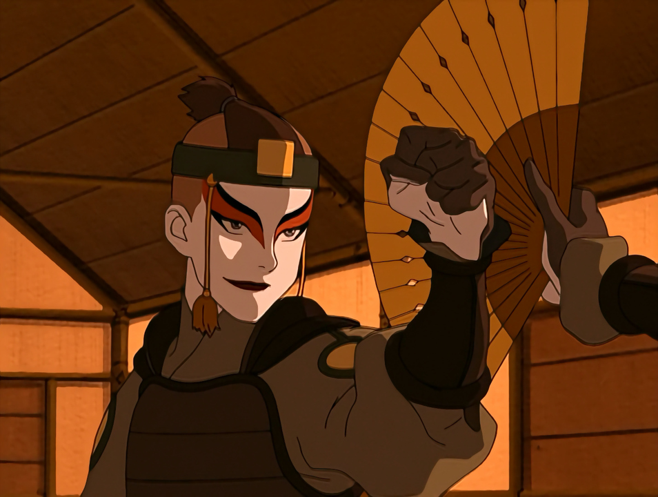 Wears the makeup of the Kyoshi Warriors to train.