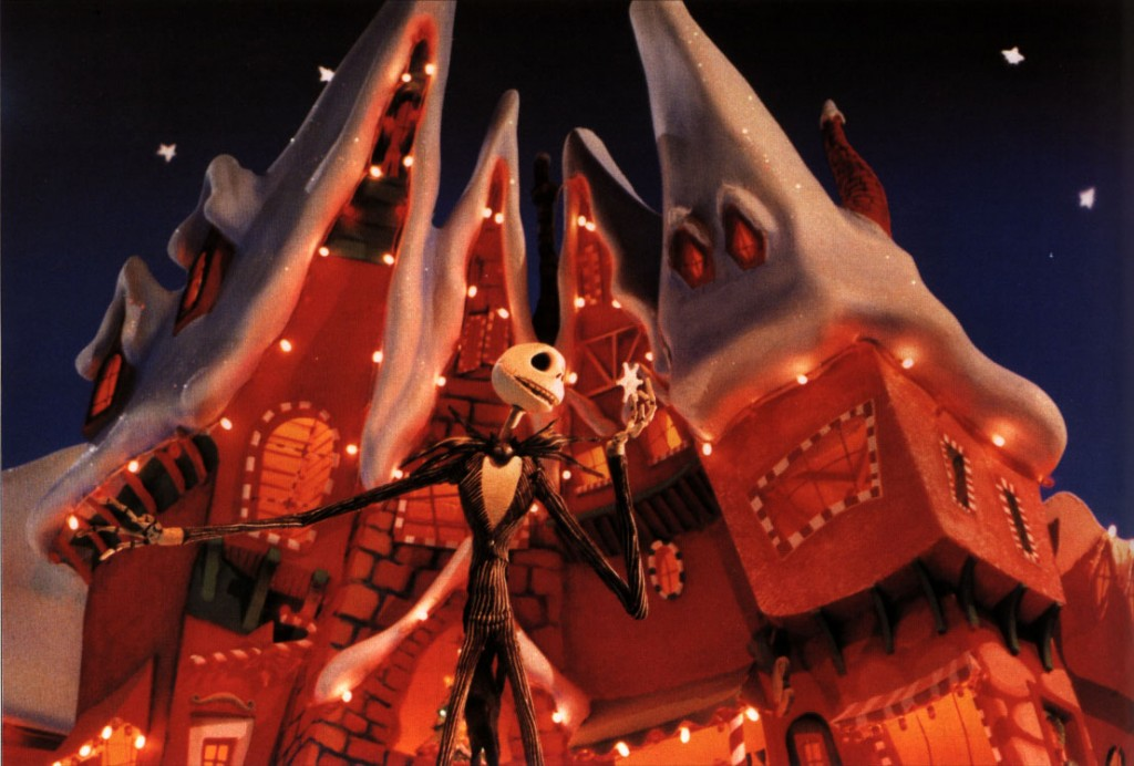Jack Skellington, the main character of The Nightmare Before Christmas singing and holding a snowflake.
