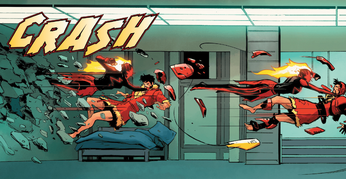 Carol Danvers (Captain Marvel) punches Tony Stark through a wall in Captain Marvel #13