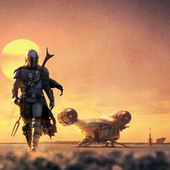 The Mandalorian walking forward with his ship behind him