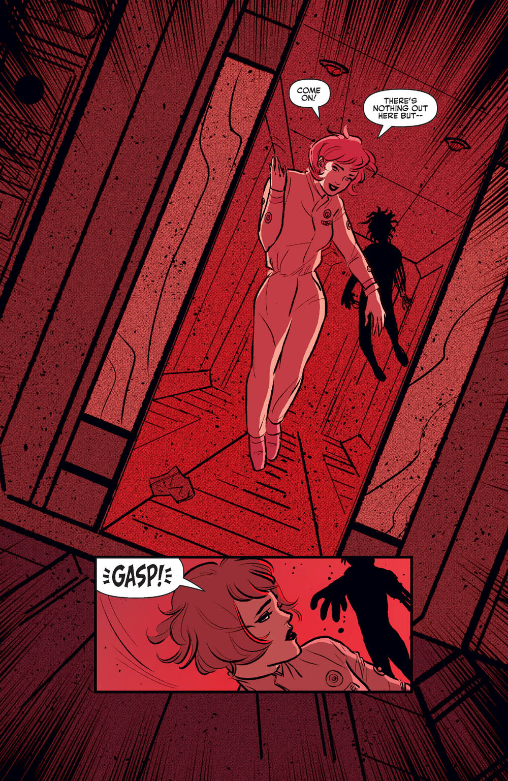 Someone floats by and scared Josie as they leave the room in Josie and the Pussycats #2.