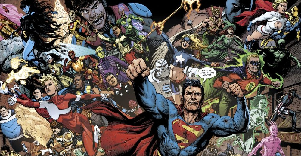 Doomsday Clock #12, Pages #30/31, Superman, The legion of superheroes, and Justice Society of America fly together