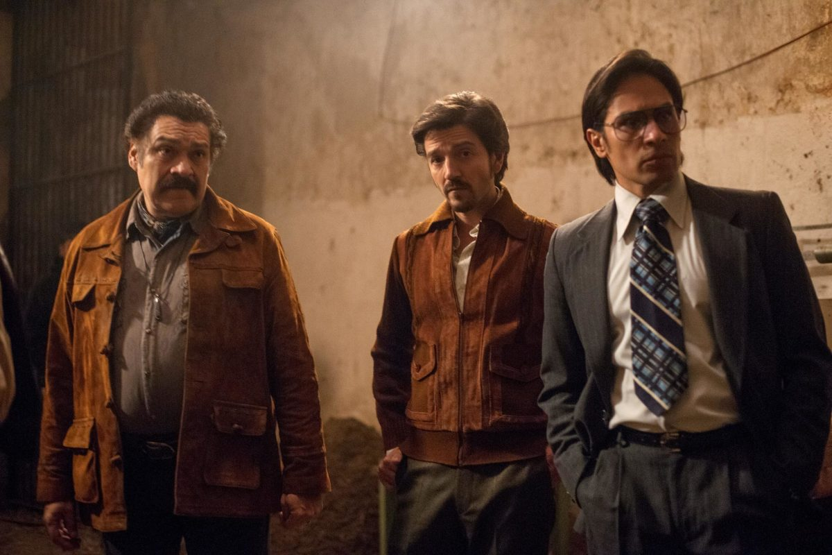 the main characters of Narcos: Mexico, Miguel Angel, Don Neto, and Officer of the DFS.