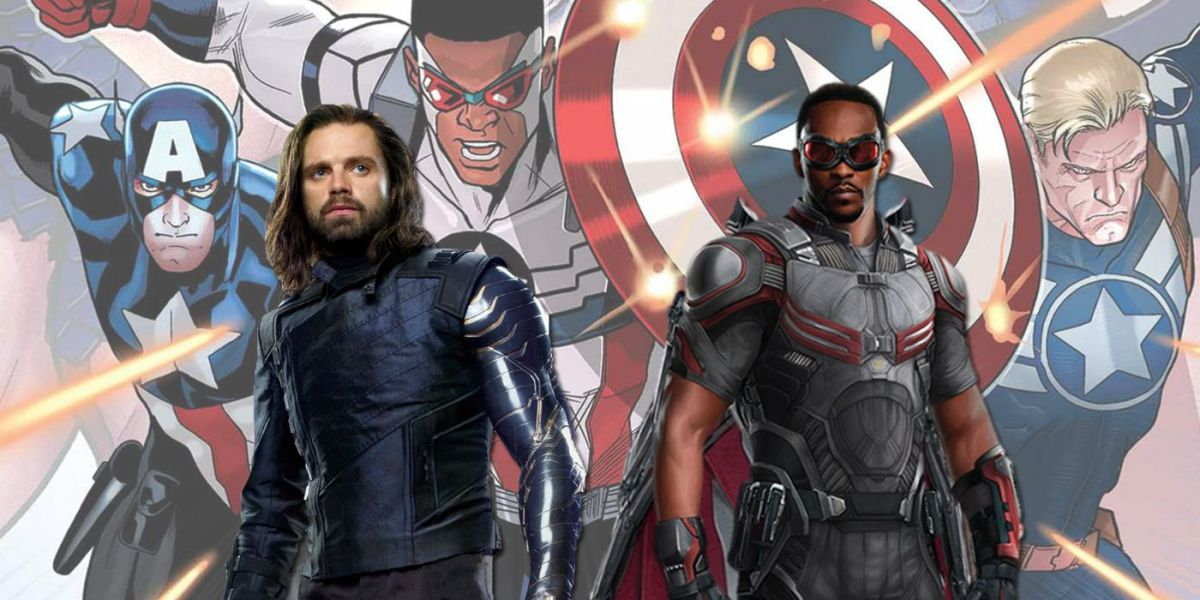 Sebastian Stan and Anthony Mackie stand in front of an Avengers poster.