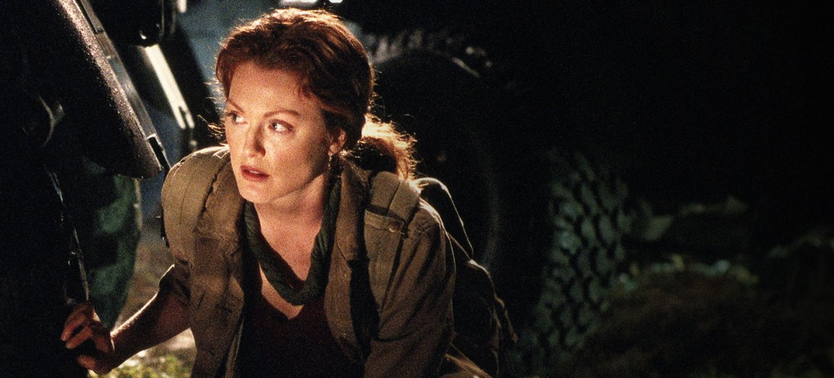 First Fictional Role Model, Dr. Sarah Harding sneaking around a campground in The Lost World: Jurassic Park.