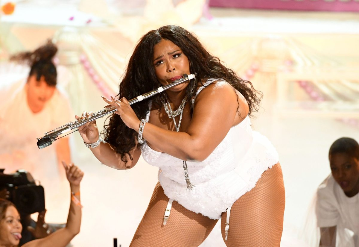Lizzo playing the flute in her memorable BET Awards performance