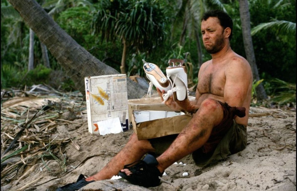 Tom Hanks opens some Fed Ex packages that have washed ashore with him in this non-traditional Christmas movie.