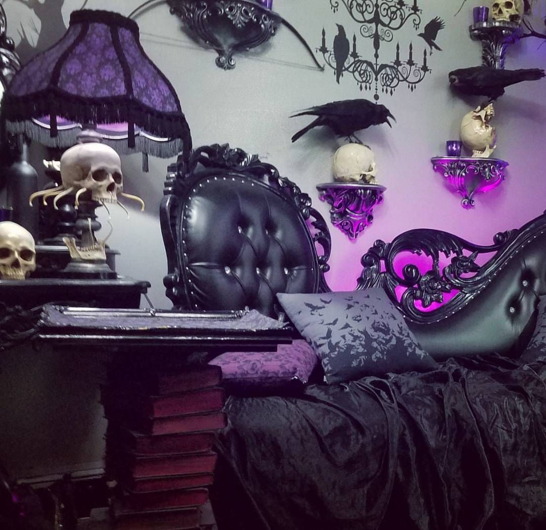 A part of Voltaire's gothic themed home. Features skulls, ravens, and ornate black furniture.
