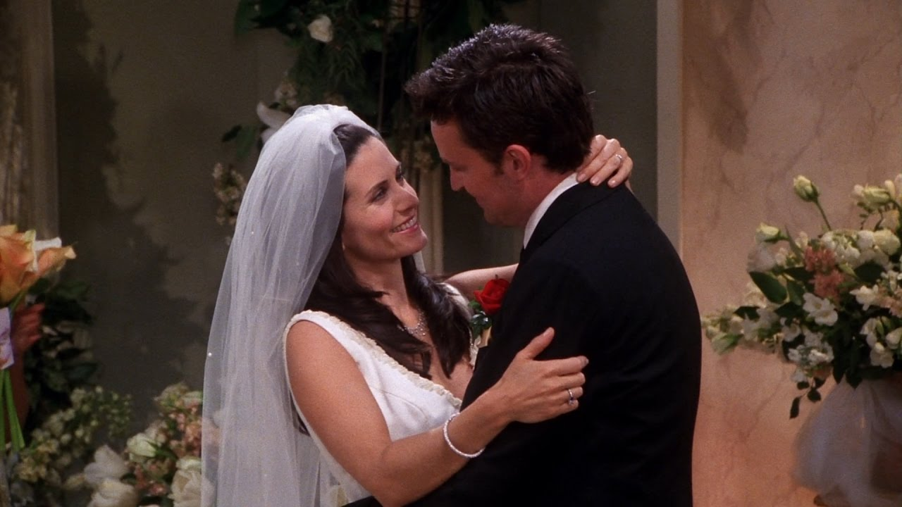 Monica and Chandler at their wedding