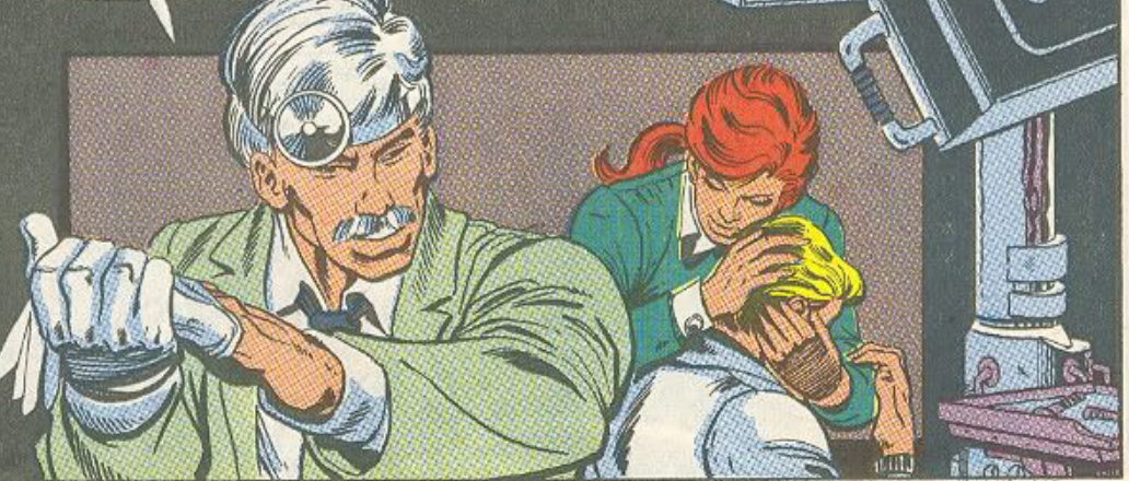 From The G.I. Joe, A Real American Hero comic, a panel of Scarlett holding Snake Eyes comfortingly by the face, hiding his appearance. A plastic Surgeon is speaking to them.