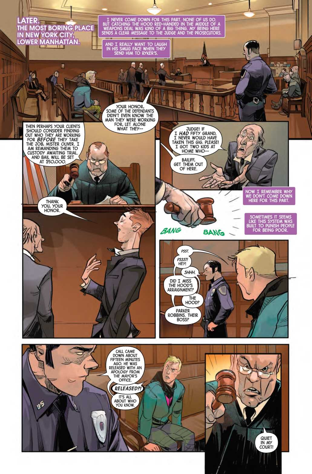 Hawkeye: Freefall #1 Page 4, Marvel Comics, 2020.