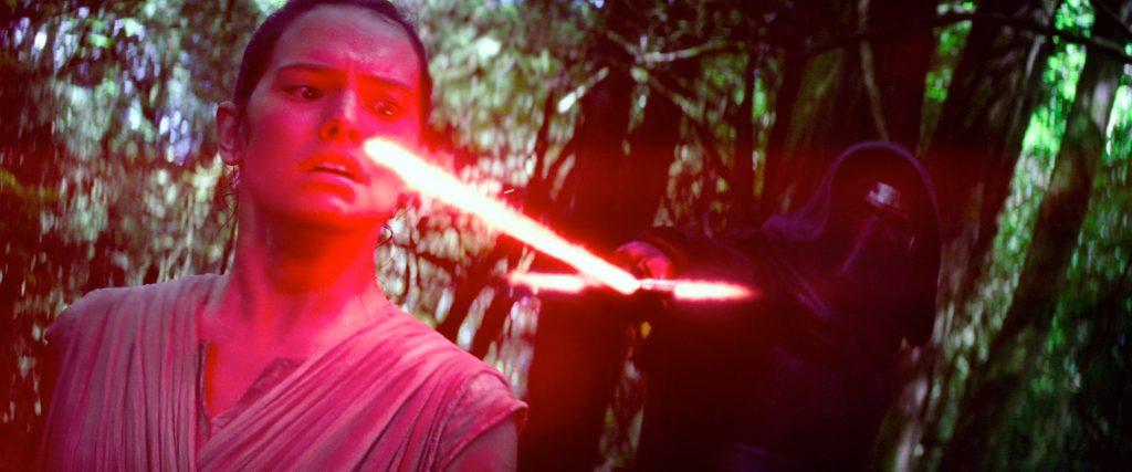 Rey and Kylo Ren in The Force Awakens.