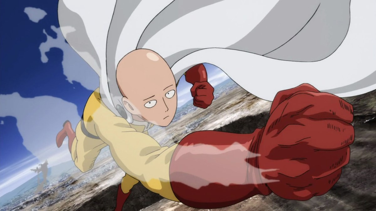 Saitama after having defeated a monster in one punch.
