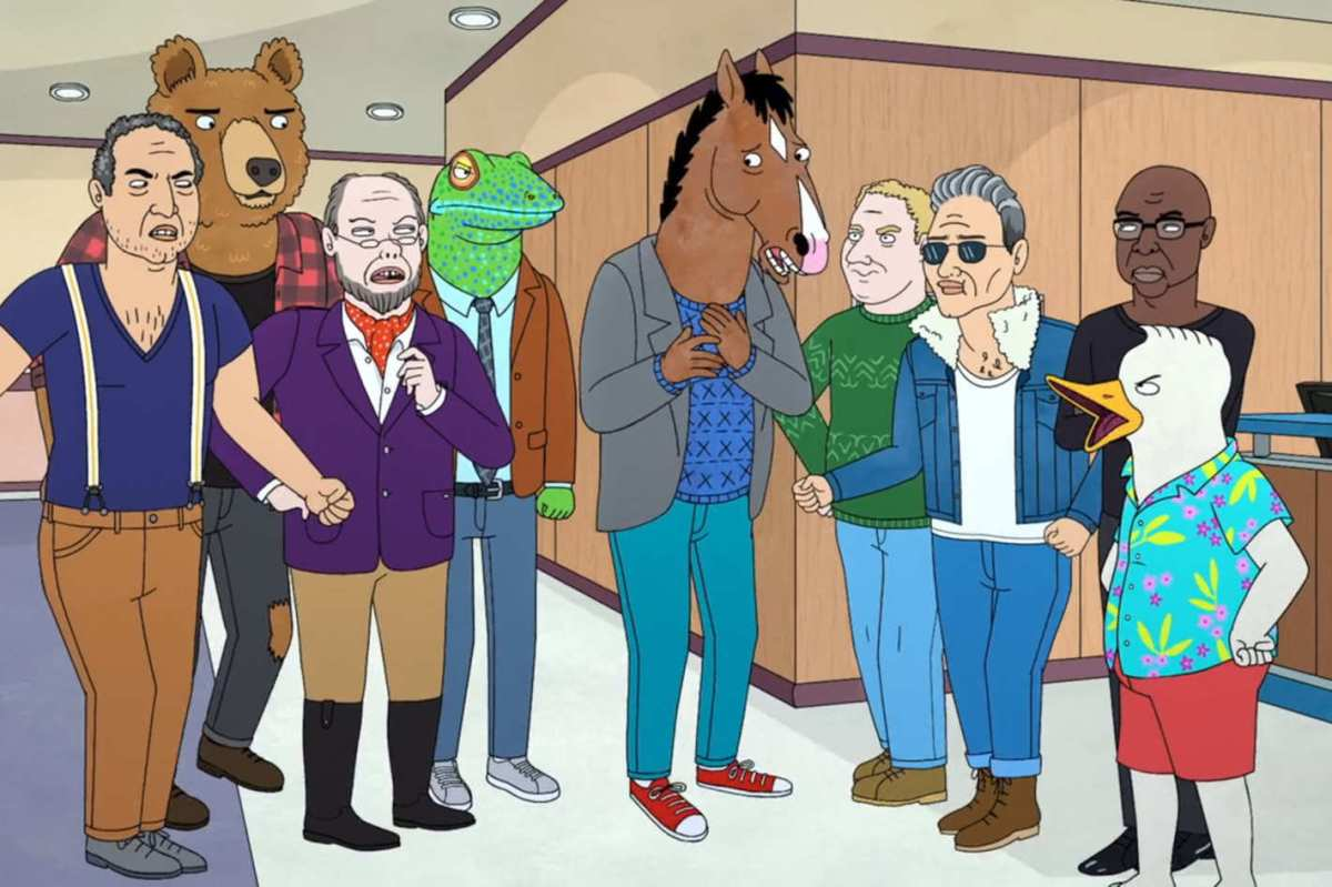 BoJack Horseman arguing with Hollyhock's eight fathers.