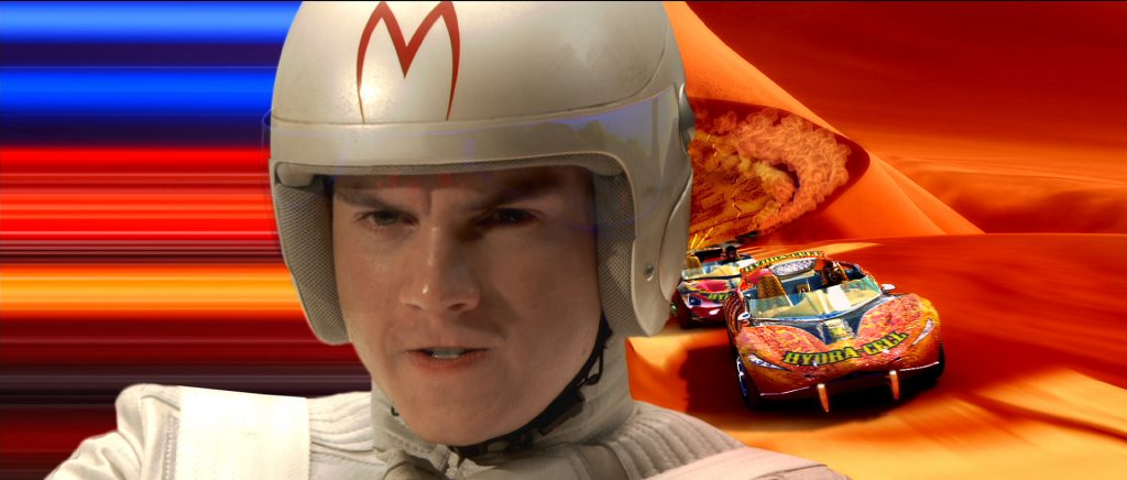"""A close up of Hirsch in """"Speed Racer"""" overlapping footage of cars racing in a desert."""
