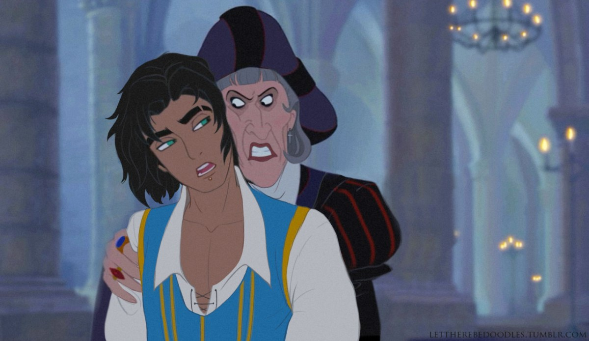 Male Esmeralda and female Frollo. Two genderbent characters used in fanfiction.