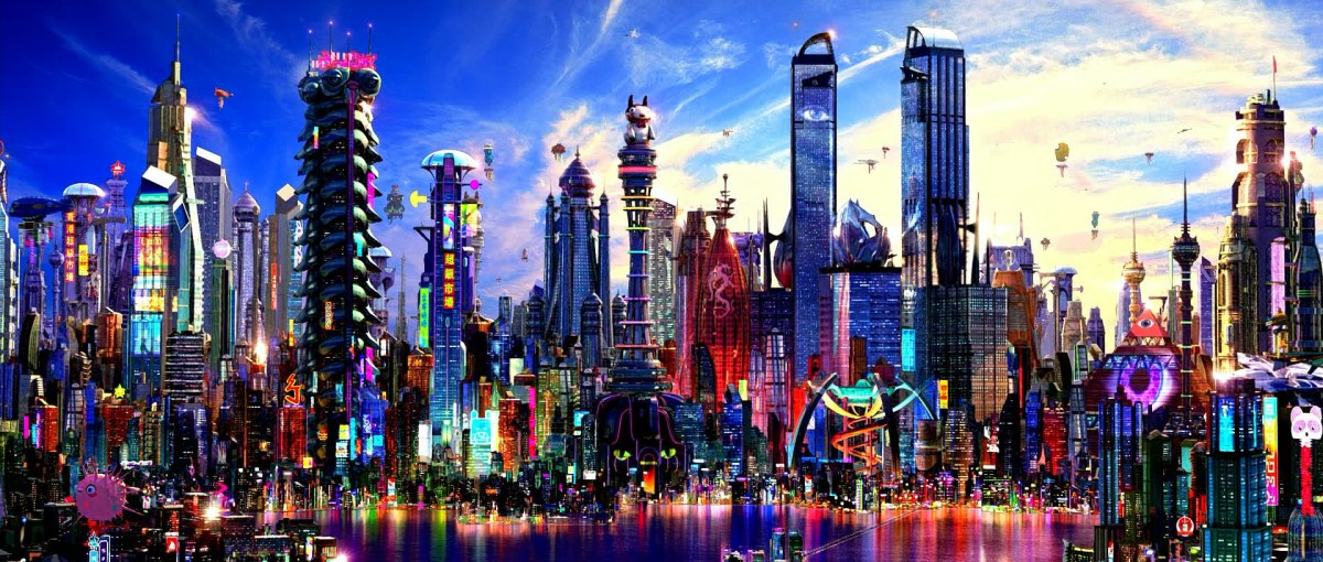 One of the CGI metropolises in the Speed Racer film.