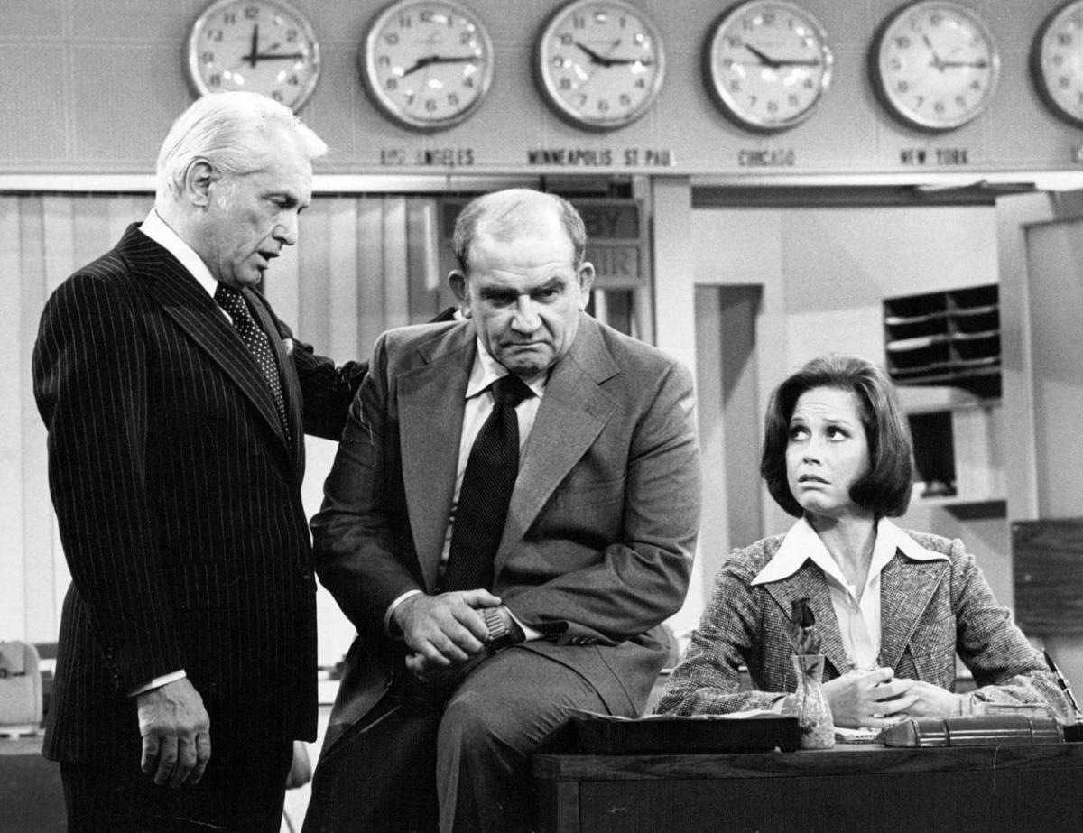Ted Knight, Ed Asner and Mary Tyler Moore in The Mary Tyler Moore Show