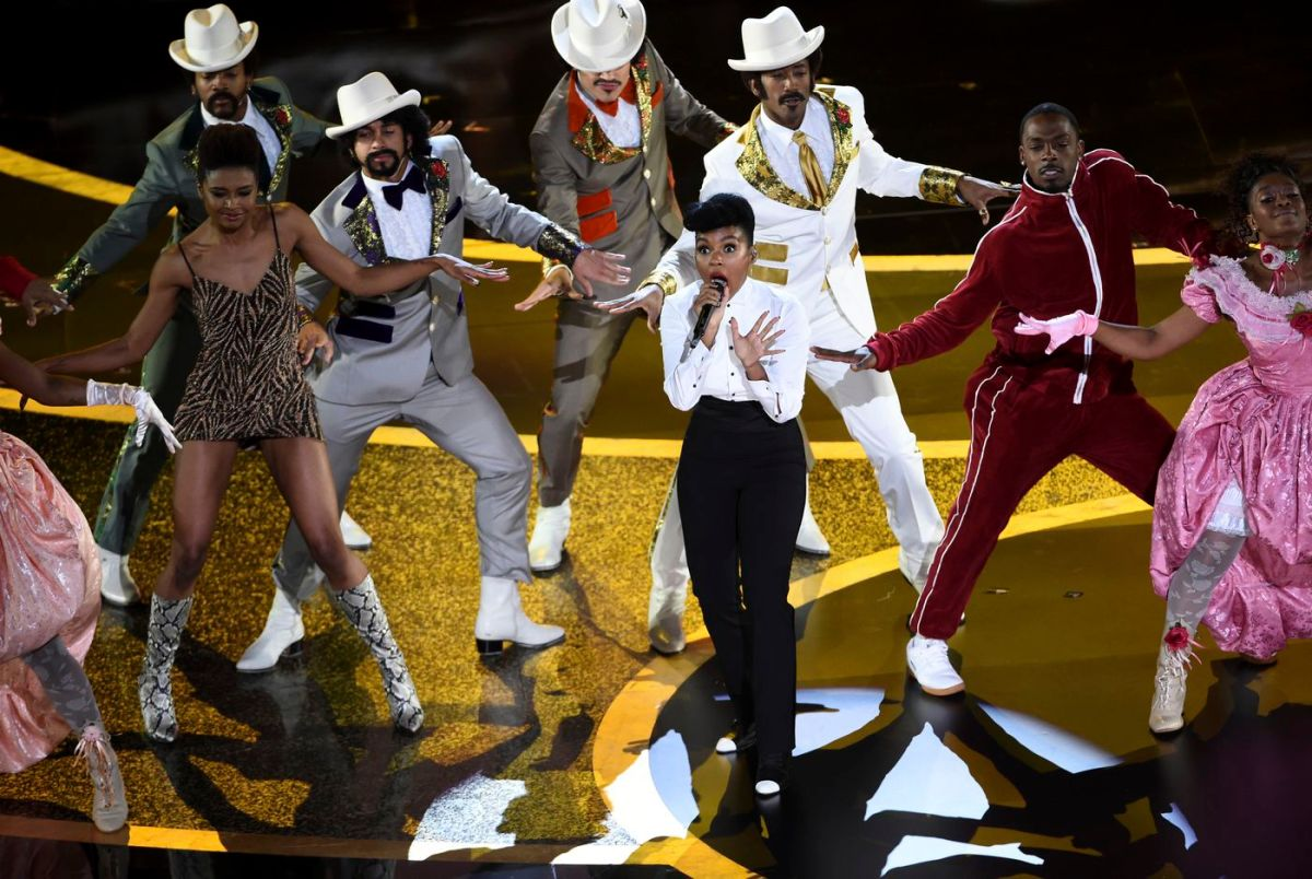 Janelle Monae sings at the Oscars.