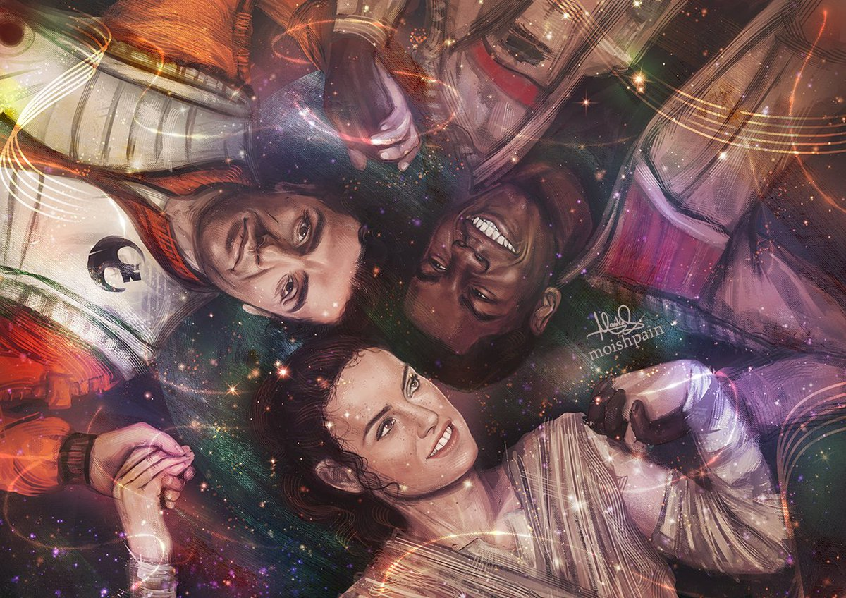 JediStormPilot fanart depicting Poe, Finn, and Rey holding hands in front of a space-themed background