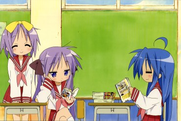 Konata, Kagami, and Tsukasa from Lucky Star sitting and reading together in a classroom.