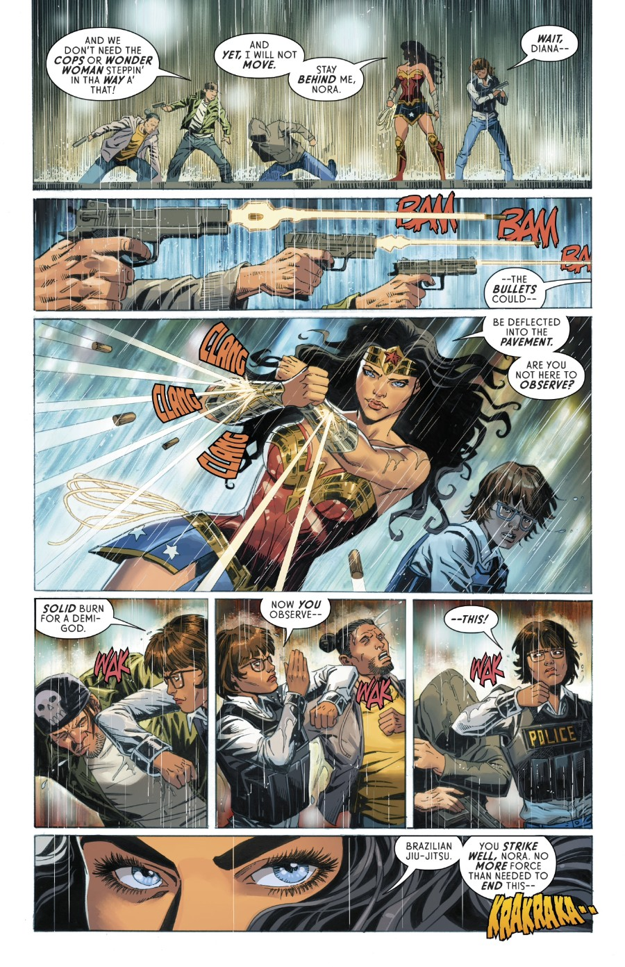 Wonder Woman #751, Page #3: Wonder Woman and Officer Nunes stop a crime