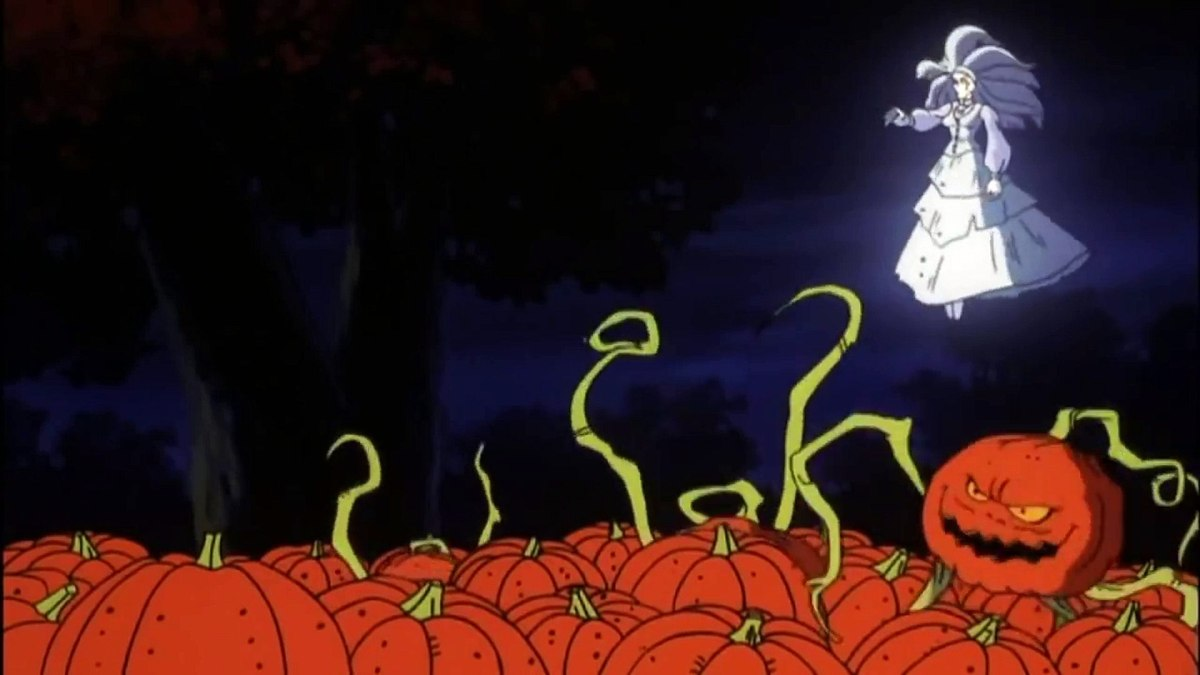 The witch floating above a field of pumpkins she has magically brought to life.